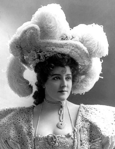 A Victorian lady sporting an ostrich feather hat
