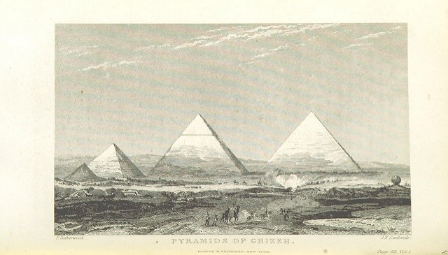 Illustration of the pyramids of Giza via The British Library, from Travels in Egypt, Arabia, Petraea and the Holy Land by Stephen Olin, 1843