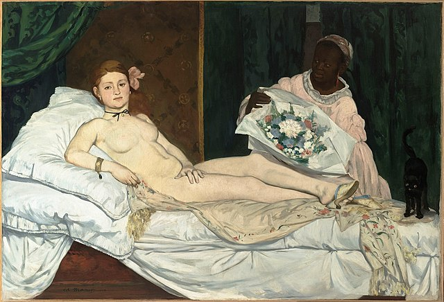 Olympia by Édouard Manet Olympia (1863) Oil on canvas 130.5 cm × 190 cm (51.4 in × 74.8 in) Held by the Musée d'Orsay, Paris