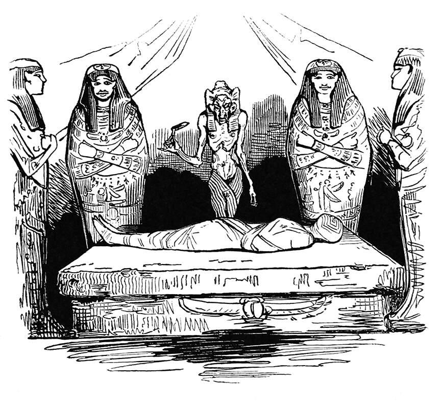 A 'graceful' mummy from Histoire du roi de Bohême et de ses sept châteaux by Tony Johannot,1830 via Old Book Illustrations