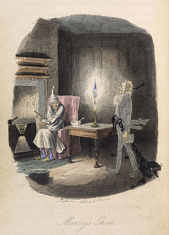 """""""Marley's Ghost"""", original illustration by John Leech from the 1843 edition via The British Library"""