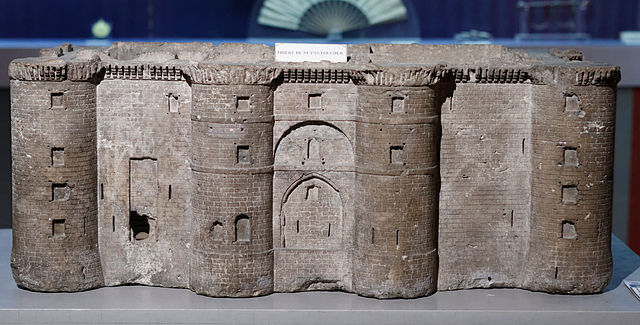 A model of the Bastille prison in Paris destroyed in the French Revolution