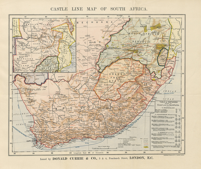 Map of Cape Colony from South African Experiences: in Cape Colony, Natal and Pondoland ... Illustrated, etc by Albert Groser, 1891 via The British Library