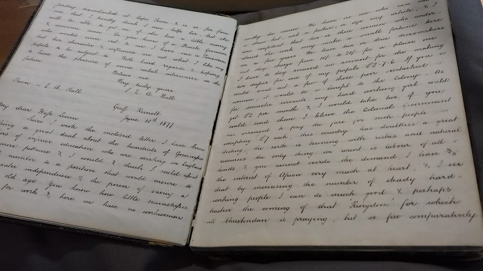 The FMCES Letterbook at the Women's Library, LSE. Photo by author.